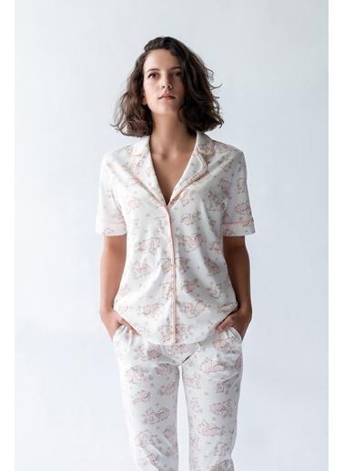 Hays Kadın Gömlek Model Kısa Kollu Penye Üst Somon
